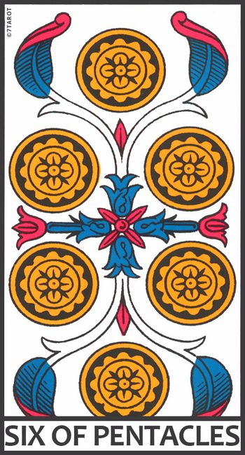 Six Of Pentacles Meaning In The Tarot 7tarot The tarot suit of pentacles, also known as the suit of coins, suit of discs, suit of deniers or suit of diamonds in playing cards, covers the elemental domain of earth and the material world. six of pentacles meaning in the tarot